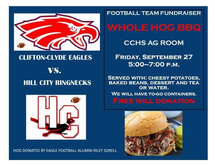 Free Will donation meal at 9/27/19 Football game