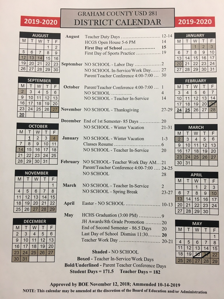 Revised 2019-20 School Calendar